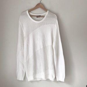 Zara Man White Crewneck Sweater
